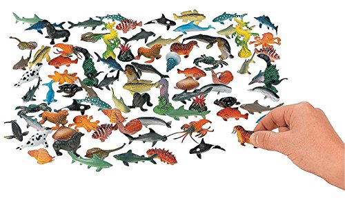 Kicko Ocean Animals 2.25 Inches - Pack of 90 - Assorted Ocean Figures Aquatic Animal Toys - for Kids Great Party Favors, Bag Stuffers, Fun, Toy, Gift, Prize (Fish Animal Aquatic)