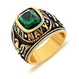 united states army ring - MASOP Men's Stainless Steel United State Army Jewelry Band Wide Rings with Green Emerald Color CZ Size 11