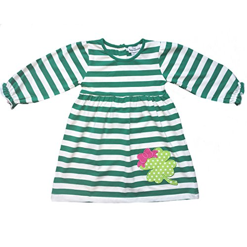 Tiny Expressions Toddler Girls' ST, Patrick's Day 4 Leaf Clover Applique Dress (3T)