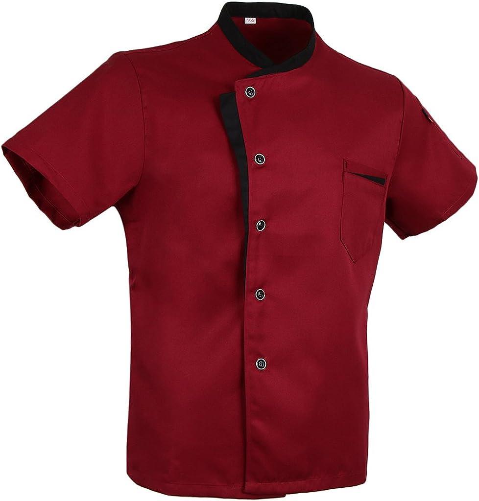 Hellery Giacca Manica Corta Abito da Cuoco Capocuoco Vestiti da Cucina Ristorante Rosso