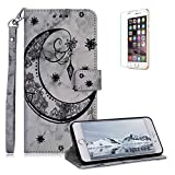 Funyee Magnetic Flip Case for iPhone 6 Plus/6S Plus [Free Screen Protector],Luxury Moon Embossed Pattern PU Leather Soft Wallet Case [Built-in Credit Card Slots] for iPhone 6 Plus/6S Plus,Black
