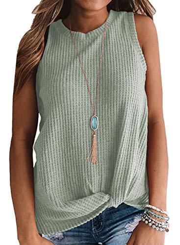 MIHOLL Womens Casual Tops Sleeveless Cute Twist Knot Waffle Knit Shirts Tank Tops (XX-Large, Light Green) ()