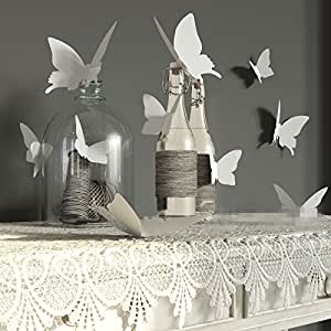 YINGKAI Mariposa in Gossip Girl 12pcs/pack White PVC 3D Decorative Butterflies Removable Wall Art Sticker For Home Decor And Wedding Party Decoration