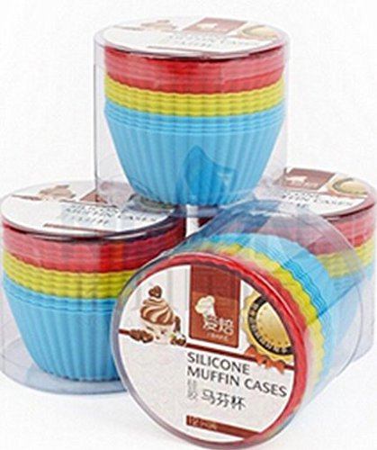 Medium Sized Silicone Cupcake Muffin Molds Moulds Re-useable and Eco-Friendly. Assorted Pantone Colors Baking Cup Holders, also for gelatine and ()