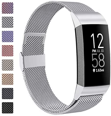 ZWGKKYGYH Metal Bands CompatibleFitbit Charge 4/Charge 3/Charge 3 SE Stainless Steel Mesh Magnetic Band Replacement Accessories Bracelet Strap for Women Men Silver Small
