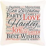 Personalised 16th Birthday Word Art Faux Silk Cushion. Personalised details required. by Pure Essence Greetings