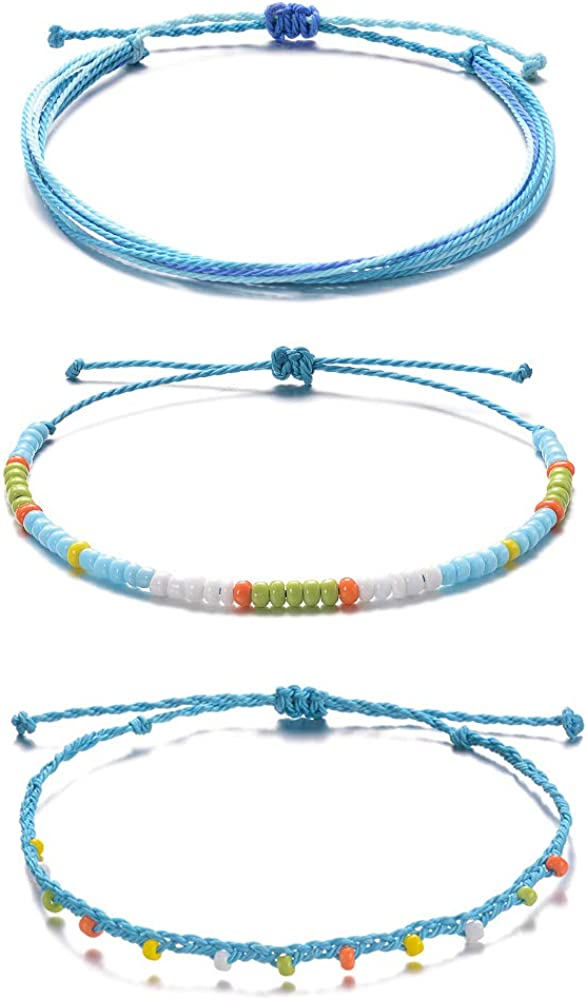 Surf Anklets Braided Anklets String Waterproof Macrame Twist Knot Adjustable Unisex Anklets Minimal Beach Anklets Party Favors