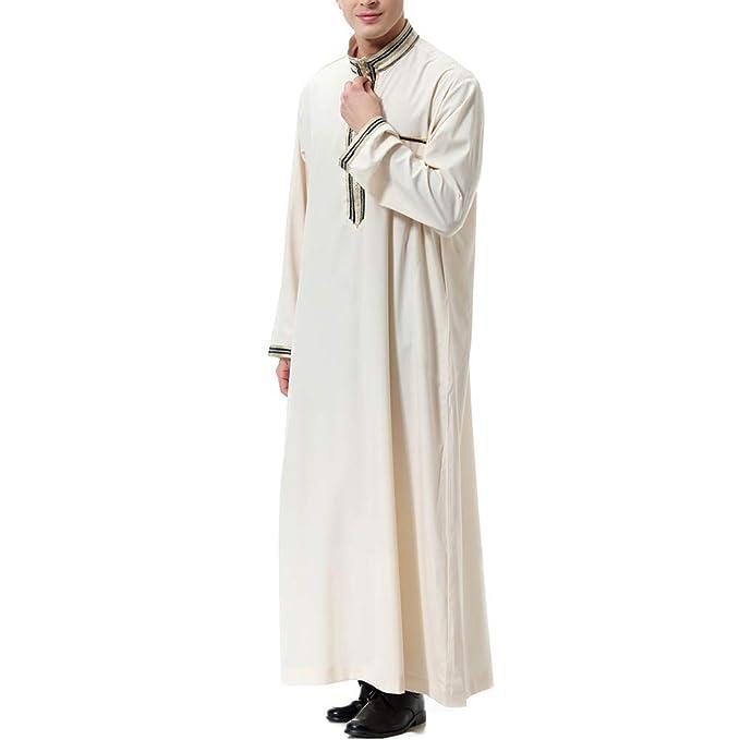 Zhhlaixing Hombres Musulmán Thobe Arab Muslim Wear Bordado con Mangas largas Thobe: Amazon.es: Ropa y accesorios