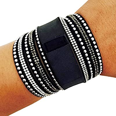 Fitbit Bracelet for Fitbit Charge or Charge HR Fitness Trackers - The M/L TINLEY Rhinestone Studded Snap Fitbit Bracelet