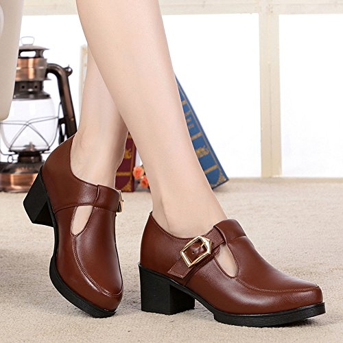 Women's 5 Chunky Brown Pump Casual 5 Shoe Leather Heel Boot Faux Ankle Dethan gqA7dg