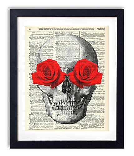 Rose Artwork - Skull With Red Roses Upcycled Vintage Dictionary Art Print 8x10