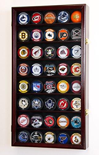 40 Hockey Puck Display Case Cabinet Holder Rack 98% UV (Cherry Finish)
