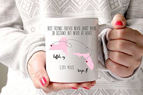 Best Friends Coffee Mug, Sublimation State Mug, Gift for Best Friend, Best Friend Gift, Mothers Day Gift, Long Distance Relationship, Best Friend Birthday Gift