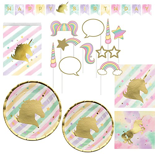 Creative Converting Unicorn Birthday Party Ultimate Bundle: Happy Birthday Banner, Photo Props, Treat Bags, Plates & Napkins
