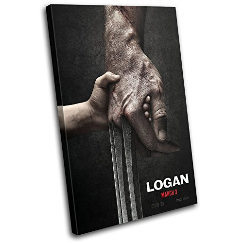 Bold Bloc Design - Logan Claws X-Men Poster Movie Greats 60x40cm SINGLE Canvas Art Print Box Framed Picture Wall Hanging - Hand Made In The UK - Framed And Ready - Logan B