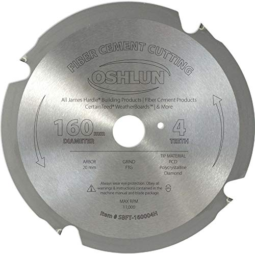 Oshlun SBFT-160004H 160mm 4 Tooth FesPro Fiber Cement Cutting FTG Saw Blade with 20mm Arbor for Festool TS 55 EQ, DeWalt DWS520, and Makita SP6000K