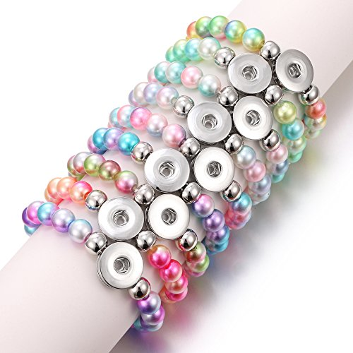Beaded Button Bracelet - Lovglisten 6pcs Bracelet Colorful Imitation Pearls Bead Snap Bracelet Fit DIY 18mm Snap Button Jewelry Summer Beaded Bracelet(CSZZSZ-6pcs)