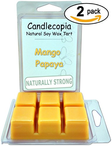 Mango Papaya Fragrance (Candlecopia Mango Papaya Strongly Scented Hand Poured Premium Natural Soy Wax Melts, 12 Soy Wax Cubes, 6.4 Ounces in 2 x 6-Packs)