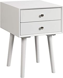 Giantex End Table W/Drawers and Storage Wooden Mid-Century Accent Side Table Multipurpose for Bedroom, Living Room Home Furniture Nightstand (1, White)