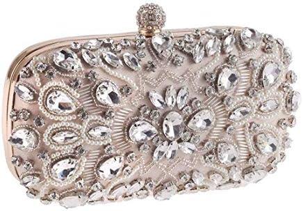女性用ダイヤモンドクラッチ、ビーズのイブニングバッグ、ドレス財布パーティーバッグ、ハンドバッグの結婚式、20 * 12 * 5.5 Cm(カラー:ホワイト) 美しいファッション (Color : White)