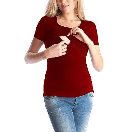 SamMoSon 2019 Camiseta Embarazada Divertida Ropa Lactancia Verano Sudadera Mujer Vestido Verano Mujer, Maternidad Color Sólido Manga Corta Embarazo ...