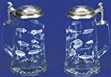 Fishing Lures, German Glass Beer Stein w/ an Authentic Antique & Modern Fishing Lures, Leaping Fish Embossed Pewter Lid, Made in Germany, Jon Q Wright Design