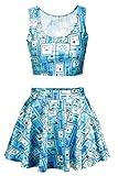 Pink Queen Women Blue Hip Hop Robot Print Crop Tank Tops Subble Skater Skirt