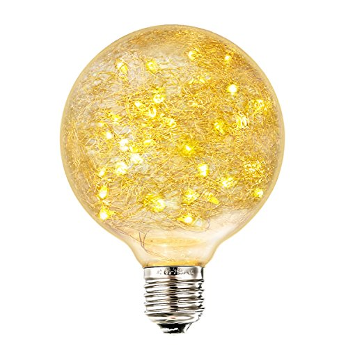 Elfeland Edison Globe Bulb Decorative Light Bulbs Fairy Christmas Light Bulb ( Bird Nest Design 50 LED String Lights inside E27 2200K 85-265V Energy Class A + ) (Light Bulbs Fairy)