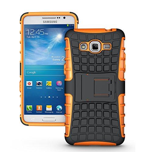 Galaxy Grand Prime Funda,COOLKE Duro resistente Choque Heavy Duty Case Hybrid Outdoor Cover case Bumper protección Funda Para Samsung Galaxy Grand Prime - negro Rojo