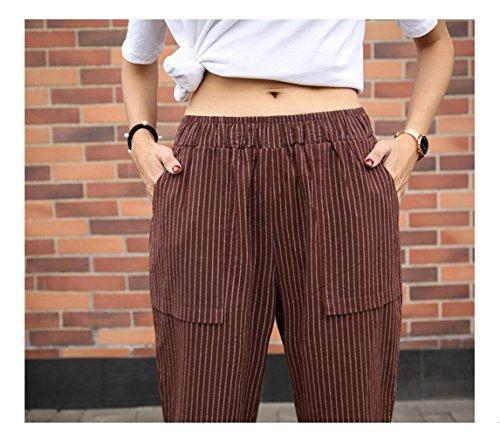 Nove Vita a Pantaloni Marrone a Punti Alta Pants Righe Donna Scuro OUFour t6Xgg