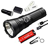 SKYBEN Klarus G20L 3000 Lumens CREE XHP70.2 P2 LED Dual-Switch USB Rechargeable Tactical Flashlight Ultra Bright Light with 1x26650 Battery, Lanyard, Holster, Wall Adapter,Car Charger and USB Light