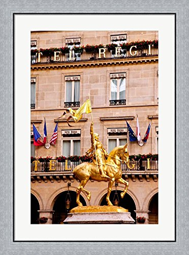 Joan Of Arc Statue Paris - Joan of Arc, Palais du Louvre, Paris, France by Brian Jannsen / Danita Delimont Framed Art Print Wall Picture, Flat Silver Frame, 26 x 35 inches
