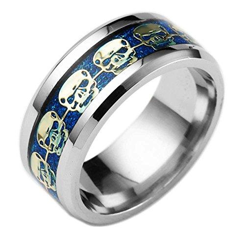 Rosemes 8mm Titanium Wedding Band for Men with Skull Pattern Beveled Edges Stainless Steel Rings Sizes 6-13 11 Blue Gold