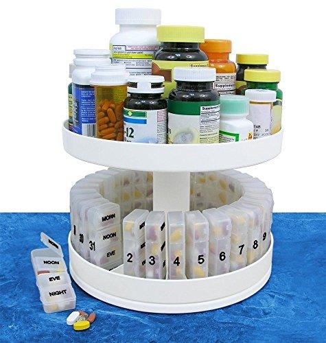 Revolving Medicine Center Rotating Carousel Daily Organizer Pill Bottle Holder