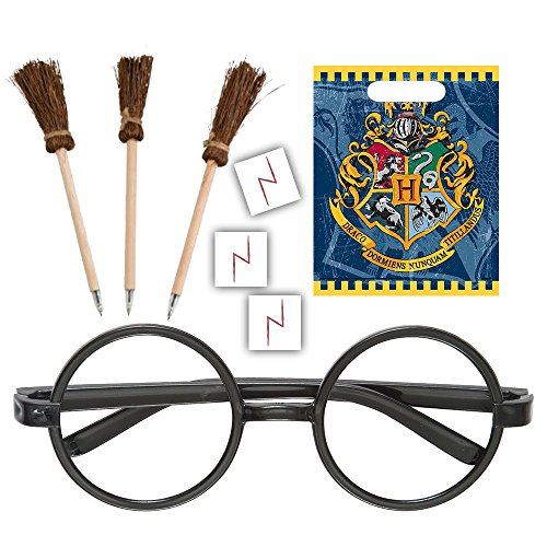 Harry Potter Themed Party Supplies, Decorations & Favors - 16 Guest - Small & Large Plates, Cups, Napkins, Tablecover, Cutlery, Loot Bags, Glasses, Pen Brooms, Birthday Banner