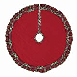 Connor Cotton and Felt Red Plaid Double Sided Small Mini Miniature Christmas Tree Skirt, 21 Inches, Holiday Decorations