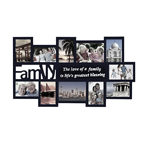 Adeco Black Decorative Wood ''Family'' Collage Wall Hanging Picture Photo Frame, 4x6 In, 5x7 In (Art Painted Table Deco)