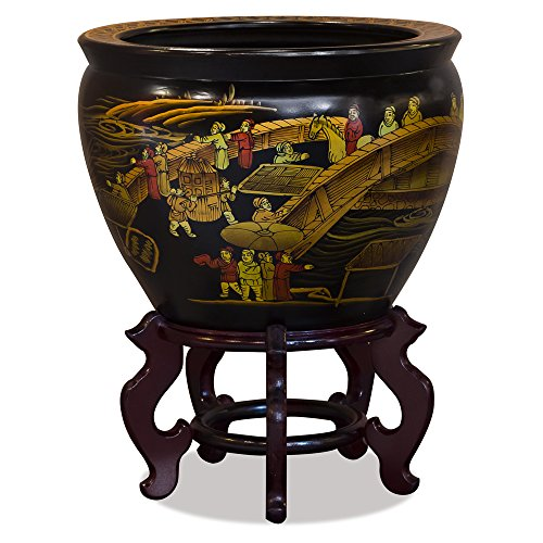 (ChinaFurnitureOnline 14in Hand Painted Chinoiserie Motif Fishbowl Planter Pot, Gold and)