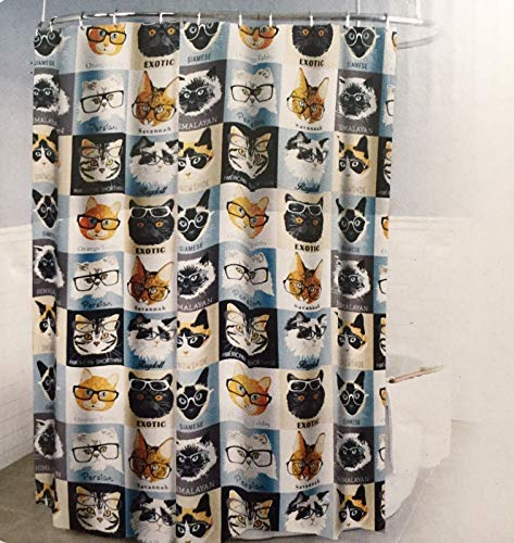 Splash Home Peva 4G Cats & Glasses Curtain Liner Design for Bathroom Showers and Bathtubs Free of Pvc Chlorine and Chemical Smell-Eco-Friendly-100% Waterproof, 72 X 70 Inch-Hazel, 70 x 72 Inch, Ice (Shower Curtains Glass)