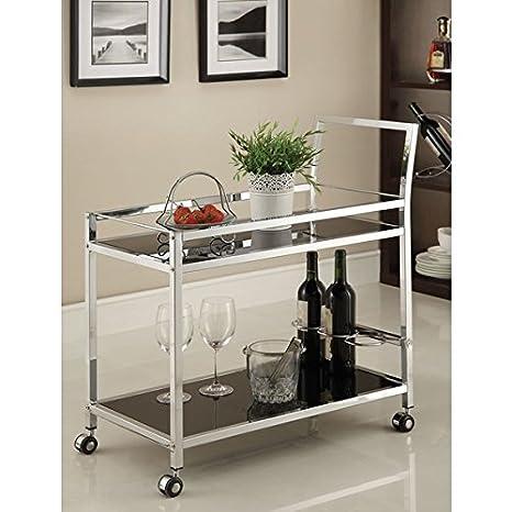Metal cromado con vidrio templado color negro Bar/té carrito de servir: Amazon.es: Oficina y papelería