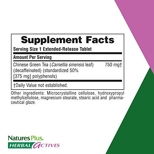 NaturesPlus Herbal Actives Chinese Green Tea, Extended Release – 750 mg – Overall Well-Being – 30 Vegetarian Tablets (30…