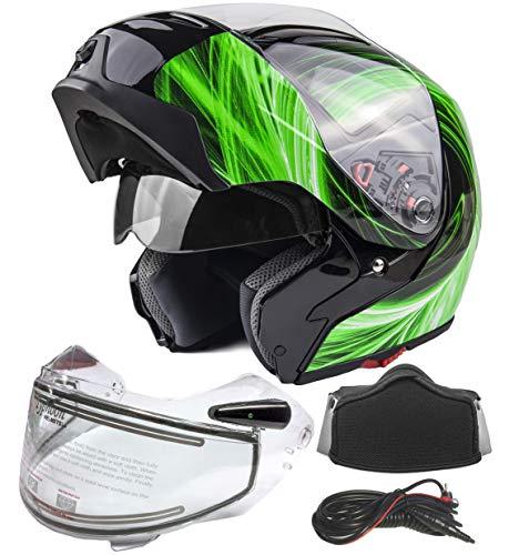 Typhoon G339 Dual Visor Modular Full Face Snowmobile Helmet With Heated Shield, Breath Box (Green, XL)