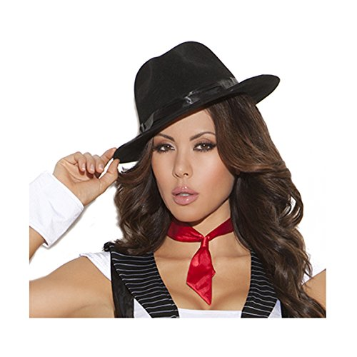 Sexy Women's Gangster Hat Adult Roleplay Costume Accessory, One Size, Black