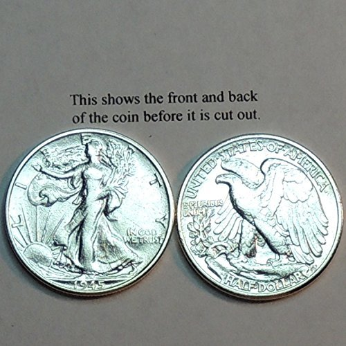Beautifully (Hand) Cut out & 2-toned old U.S. Walking Liberty Half Dollar - coin Tie Clip