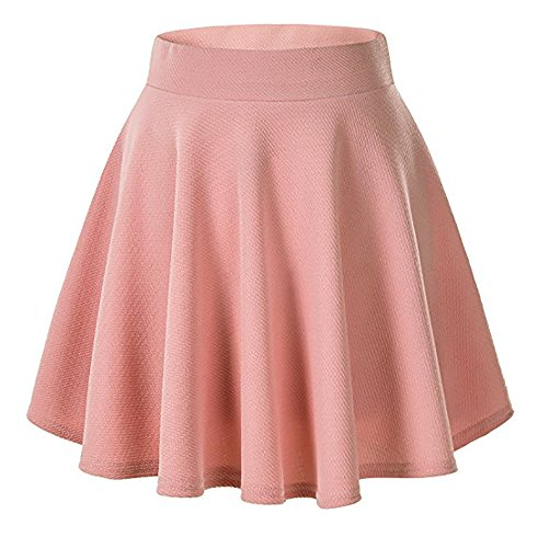 Moxeay Women's Basic A Line Pleated Circle Stretchy Flared Skater Skirt (Medium, Pink) Basic Skirt