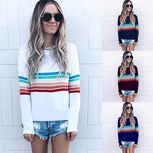 et Pullover Raye Shirts Pulls Confort Blanc Patchwork Shirts Printemps Tops Jumpers T Rond Manches Femmes Blouse Fashion Sweat Col Automne Casual Hauts Longues qwOZCTPdO