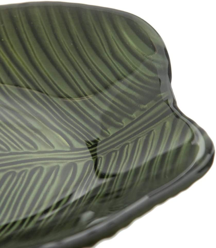 Centro de Mesa Hoja ex/ótico Verde de Cristal LOLAhome de /Ø 36x15 cm