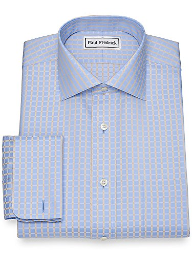 Fredrick Non Iron Paul (Paul Fredrick Men's Non-Iron Cotton Satin Check Dress Shirt Blue/tan 18.0/34)
