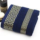 SHAMPOS Luxury 100% Cotton Bath Towel Brand Serviette Adulte Embroidery Large Beach Towels 70X140cm Blue 70x140cm