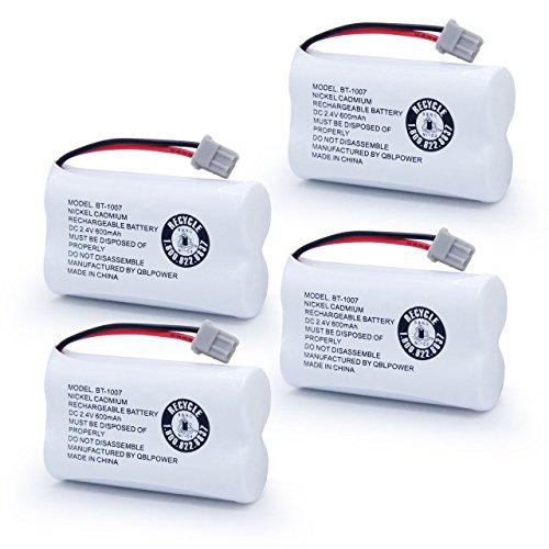 Cbc 206 Cordless Phone Battery - QBLPOWER BT-1007 Rechargeable Cordless Telephone Batteries Compatible with Uniden BT1007 BBTY0651101 BT904 BT-904 BT1015 BBTY0460001 BBTY0510001 BBTY0700001 Panasonic HHR-P506 HHR-P506A(Pack of 4)
